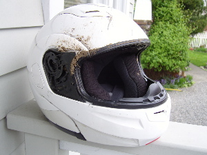 Safety Ed's helmet, post-crash