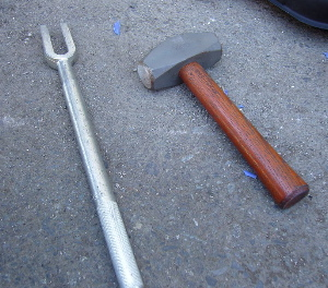 Tie rod end separator and 3-lb. hammer