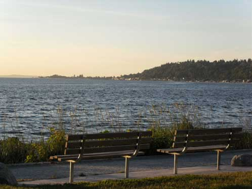 Alki Point is in the distance