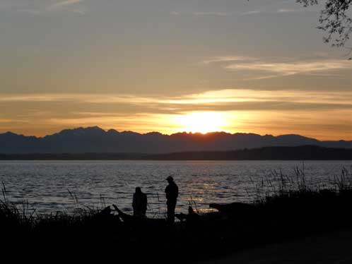 The Olympic Mountains at sunset