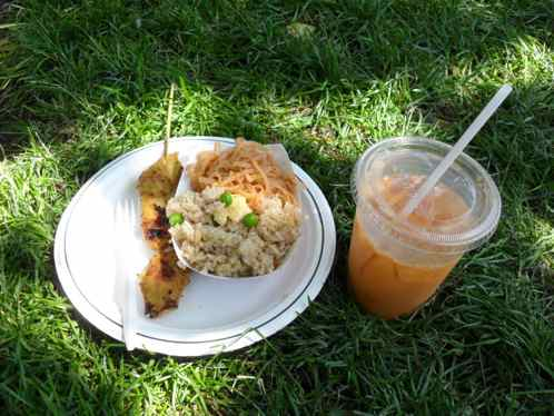 Chicken satay, pad thai, fried rice, Thai iced tea = $6.00