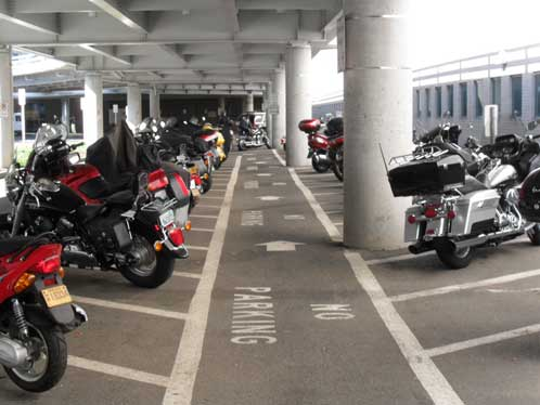 Motorcycle parking at PDX