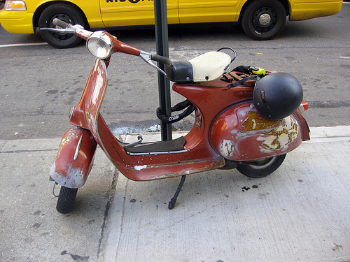 Well-used Vespa in NYC