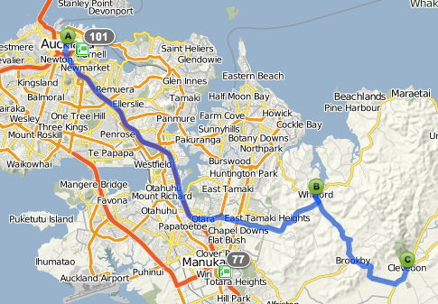 Auckland to Clevendon