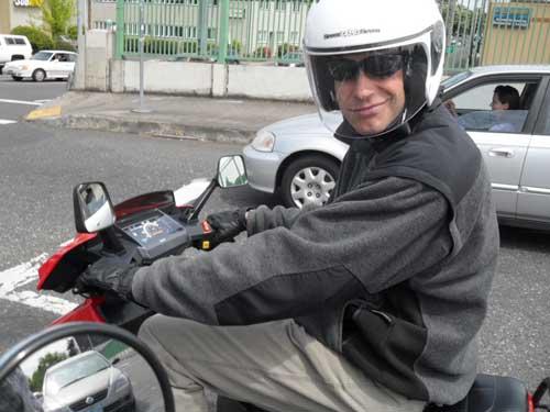Sam on his Honda Elite 80