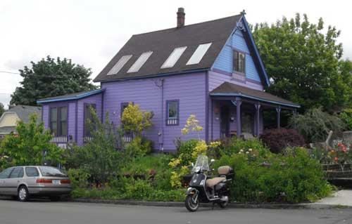 A purple house on Burnside