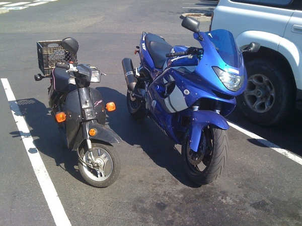 Honda Spree and Yamaha YZF