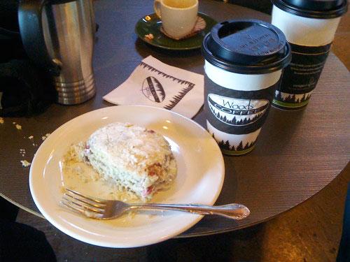 White chocolate & raspberry scone and coffee