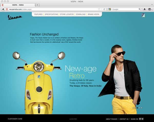 Vespa India website