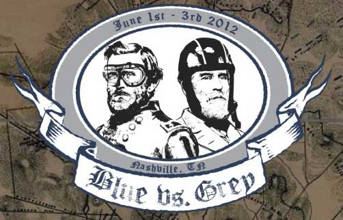 Blue vs Grey rally logo