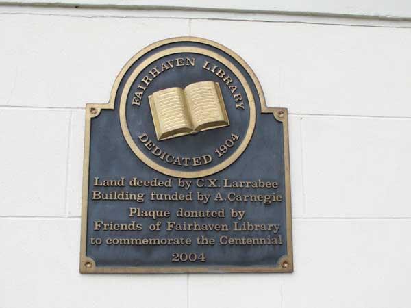 Fairhaven Library plaque