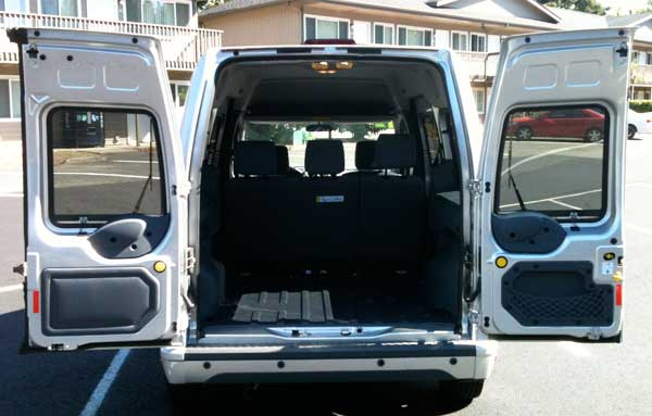 Transit Connect rear doors open