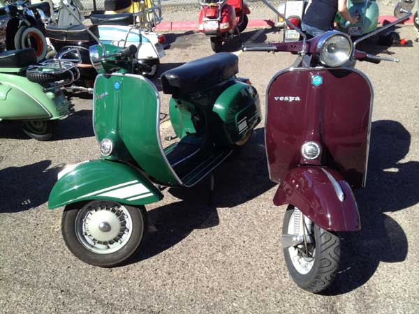 Green and maroon Vespas