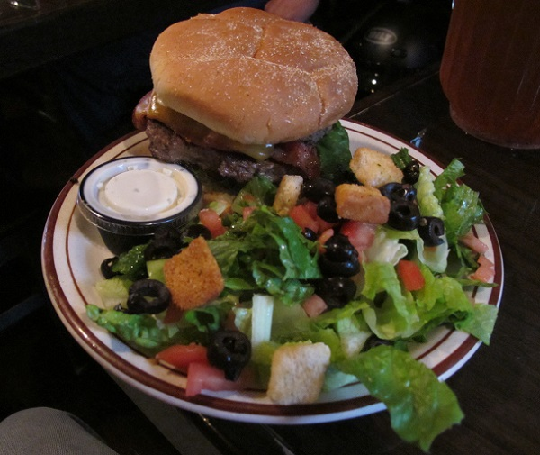 Bacon cheeseburger and salad
