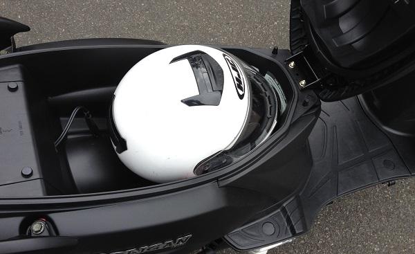 Helmet in underseat bin