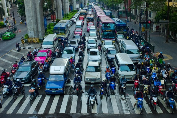 Lane splitting in Bangkok