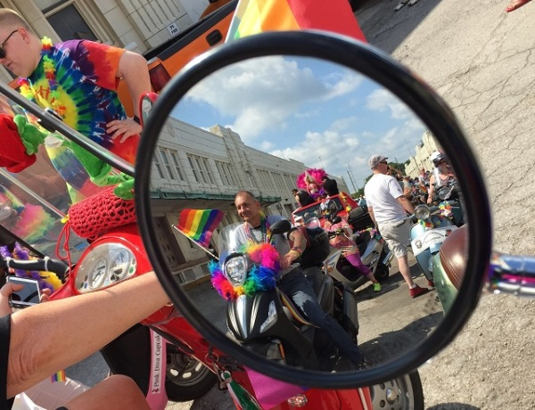 Pride parade in the mirror