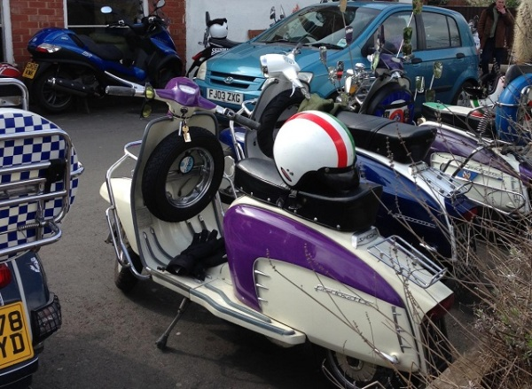 Lambretta with purple accents