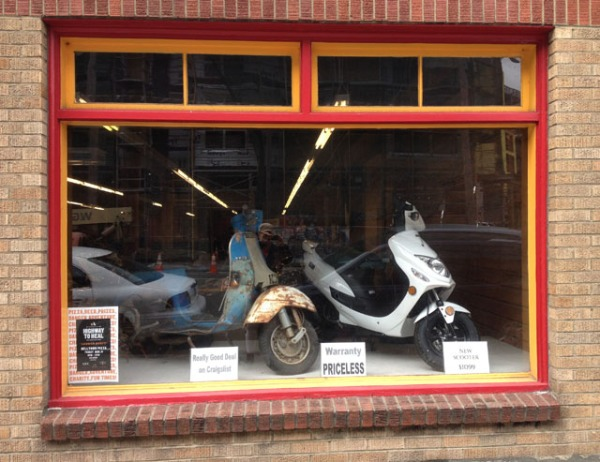 Scoot About display window