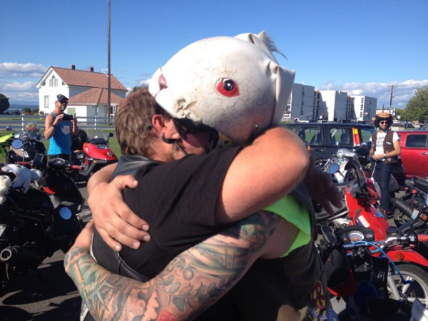 Post-ride hug