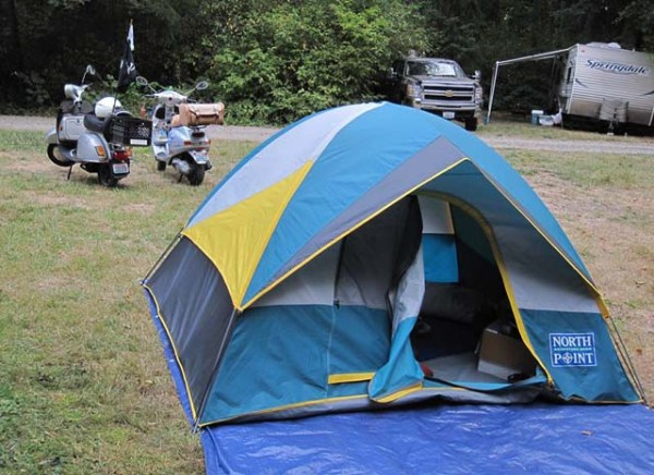Scooters and tent