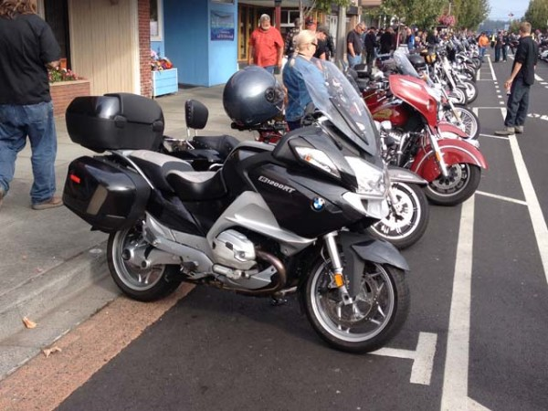 BMW R1200RT in downtown Anacortes