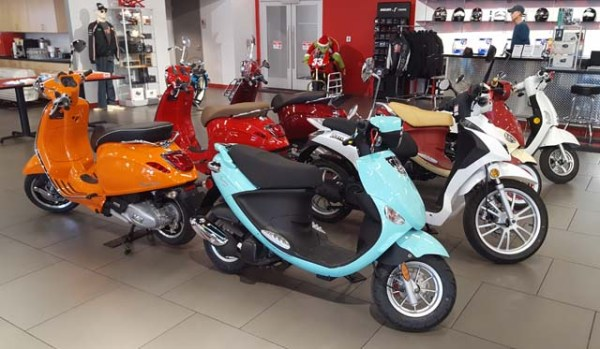 Scooters in the showroom